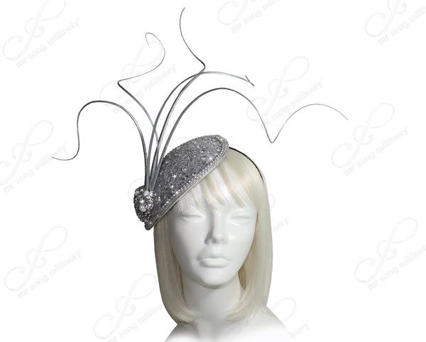 Mr. Song Millinery All-Season Profile Petite Teardrop Fascinator Headband - Silver
