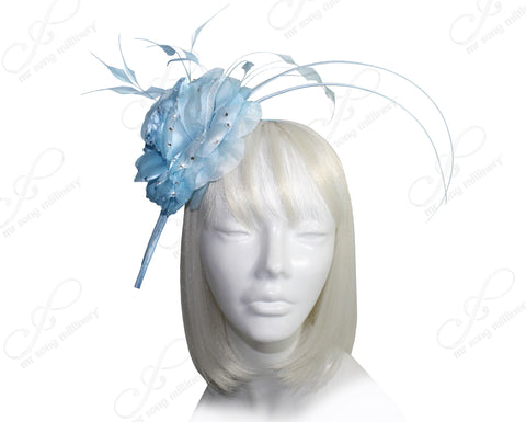 All-Season Floral Profile Dish Fascinator - Ice Blue