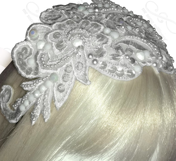 Mr. Song Millinery Lace & Bead Headband Headpiece