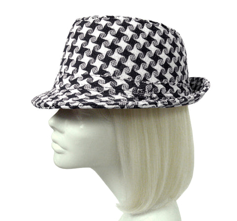 Houndstooth Fedora - Black/White