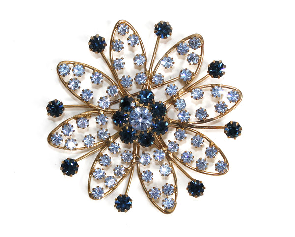 Mr. Song Millinery Crystal Rhinestone Brooch Pin Pendant - Blue