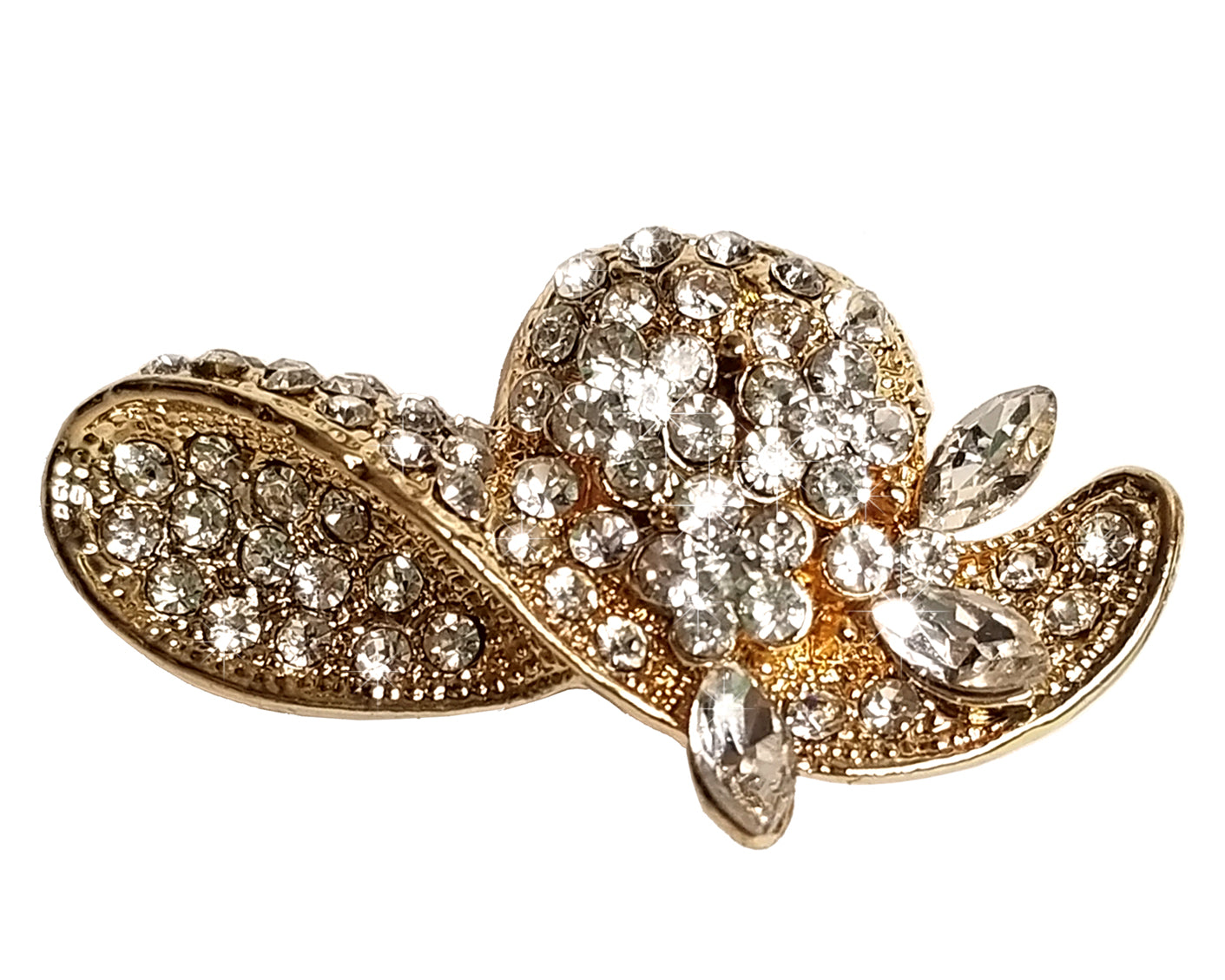Crystal Rhinestone Brooch Pin - Gold