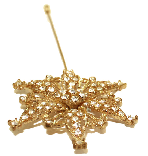 Mr. Song Millinery Crystal Starburst Rhinestone Brooch Hat Pin - 2 Colors