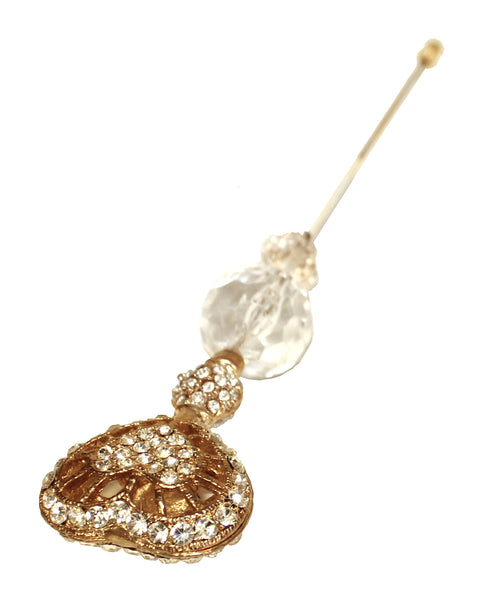 Mr. Song Millinery Crystal Rhinestone Heart Brooch Hat Pin - Gold/Crystal