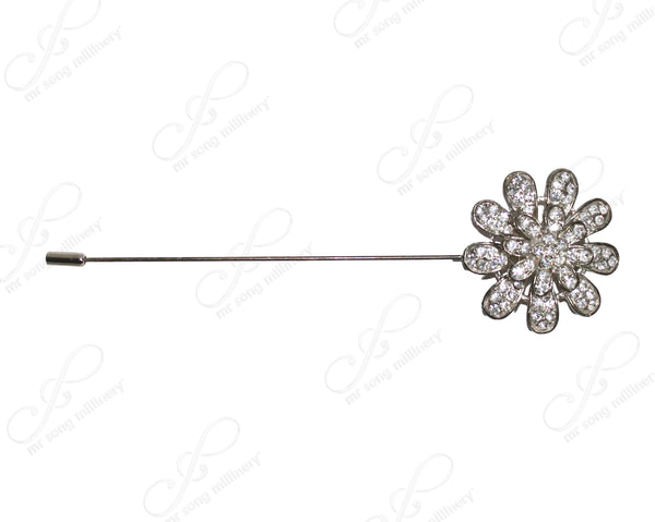 Mr. Song Millinery Crystal Flora Rhinestone Brooch Hat Pin - Silver/Crystal