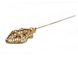 Mr. Song Millinery Crystal Rhinestone Vintage Style Brooch Hat Pin - Gold
