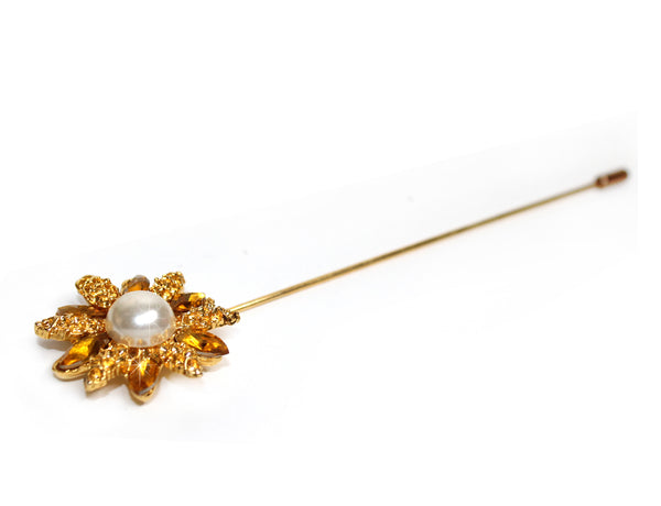 Mr. Song Millinery Crystal Flora Rhinestone Brooch Hat Pin - Topaz/Gold/Pearl