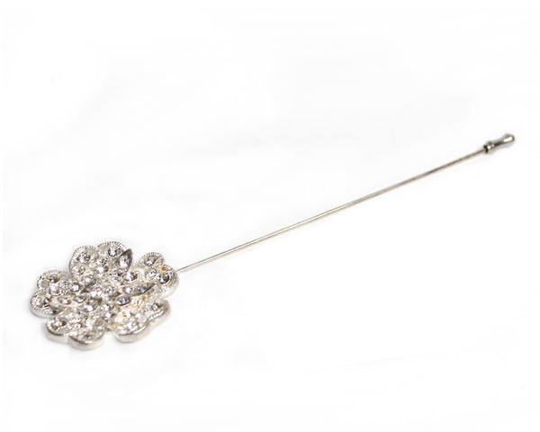 Mr. Song Millinery Crystal Flora Rhinestone Brooch Hat Pin - 2 COLORS