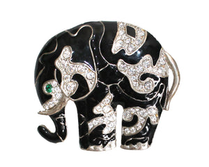 Mr. Song Millinery Crystal Rhinestone Brooch Pin Pendant - Black/White