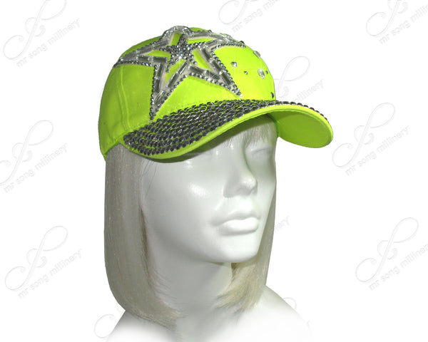 Mr. Song Millinery Rhinestone Encrusted Fitted Baseball Bib-Cap - Neon Green