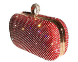 Pavé Rhinestone Purse Clutch Hand Bag - Red/Gold