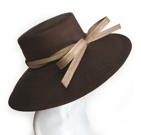 Royal Ascot Hat With Tiffany Brim With Knotted Loop Bow - DH221