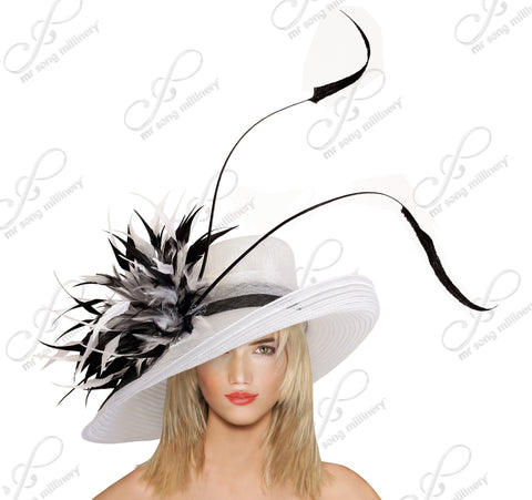 Copy of Royal Ascot Hat Crin & Sinamay Wide Brim