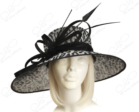 Kentucky Derby Sinamay Wide Brim Hat - Black/Grey