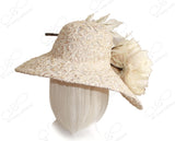 Derby/Ascot Sinamay Lace Hat With Large Peony - Champagne Gold