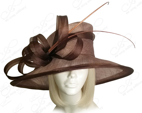 Derby/Ascot Wide Brim Sinamay Hat - 6 COLORS
