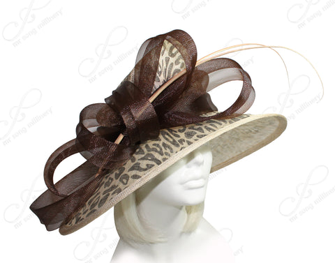 Mr. Song Millinery Derby/Ascot Wide Brim Sinamay Hat - Animal Print