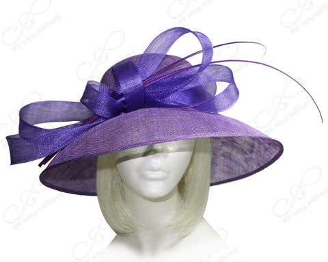 Derby/Ascot Sinamay Hat With Wide Wide Brim - Purple
