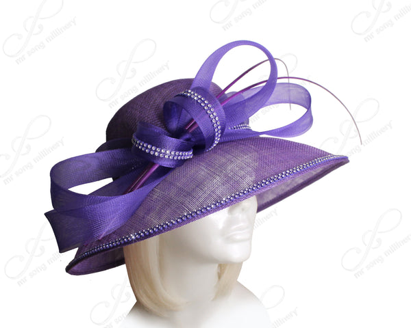 Mr. Song Millinery Derby/Ascot Sinamay Hat With Tiffany Wide Brim - Purple