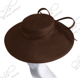 Royal Ascot Hat Hascinator With Knotted Loop Bow - DH228 Brown