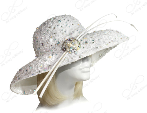 Mr. Song Millinery Derby/Ascot Wide Brim Lace Hat - White