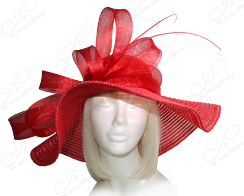 Mr. Song Millinery All-Season Derby/Ascot Crin Hat With Wide Brim - Red