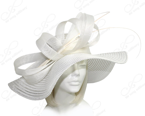 Mr. Song Millinery All-Season Derby/Ascot Crin Hat With Wide Brim - 2 Colors