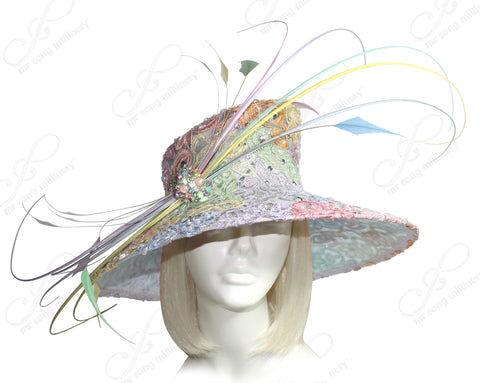 Wide Brim Laced Sinamay Hat - Multicolor