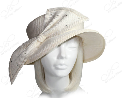 Mr. Song Millinery Derby/Ascot Tagline Straw Hat With Structured Medium Brim - 2 Colors