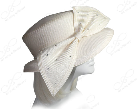 Mr. Song Millinery Derby/Ascot Tagline Straw Hat With Structured Medium Brim - 3 Colors