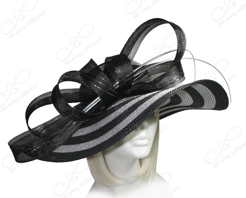 Mr. Song Millinery Derby/Ascot Straw Hat With Floppy Wide Brim - Black