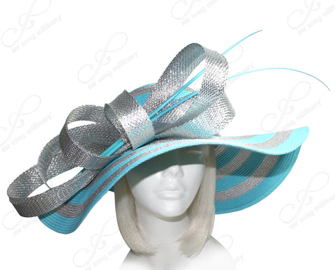 Mr. Song Millinery Derby/Ascot Straw Hat With Floppy Wide Brim - Turquoise