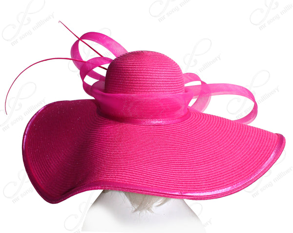 Mr. Song Millinery Derby/Ascot Straw Hat With Wide Brim - 3 COLORS
