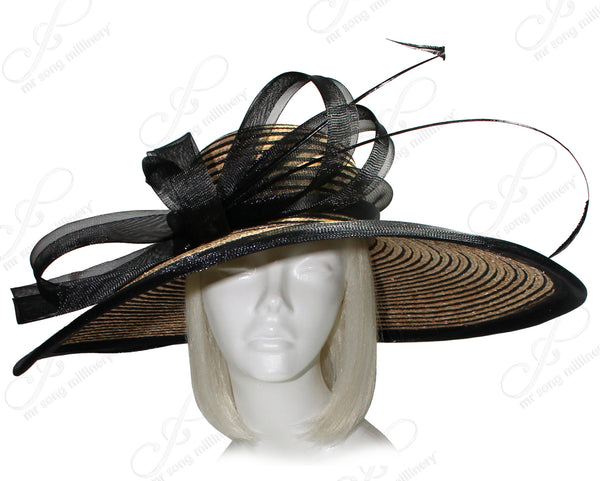 Mr. Song Millinery Derby/Ascot Straw Hat With Wide Brim - 2 COLORS