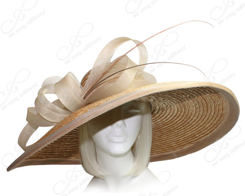 Derby/Ascot Straw Hat With Wide Brim - Tan