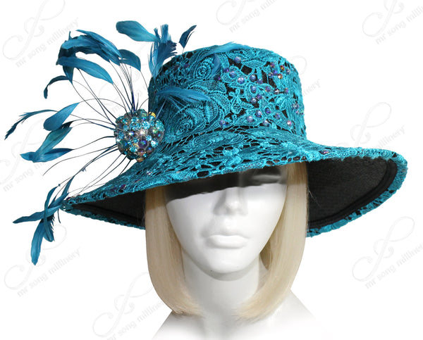 Mr. Song Millinery All-Season Lace Straw Hat - Turquoise Blue