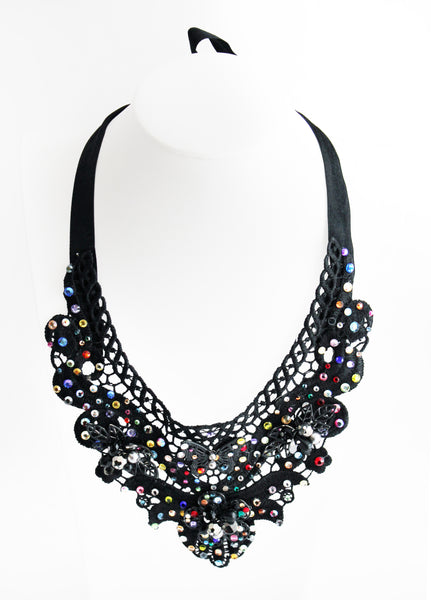 Jeweled Bib Collar Necklace Tie - 5 Colors