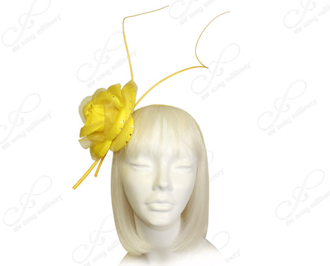 Organza Floral Fascinator Headband - Yellow