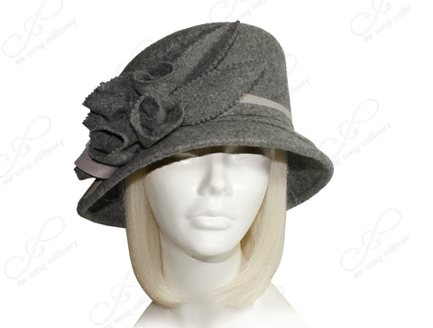 Mr. Song Millinery Softest Felt Slant Crown Hat - Heather Grey