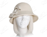 Soft-As-Cashmere Felt Bucket Cloche Hat - White
