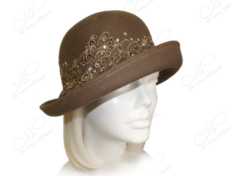 Felt Fedora Cloche Bucket Hat - Brown