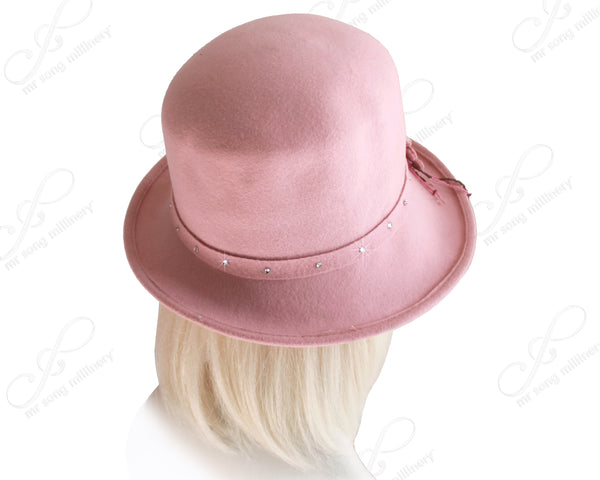 Mr. Song Millinery Ultra-Soft Felt Fedora Bucket Cloche Hat - Pink