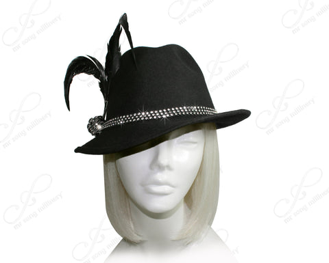 Felt Classic Fedora Hat With Coque Rhinestones - Black