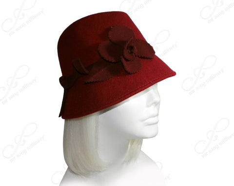 Felt Fedora Hat With Flora Accent - Burgundy Red