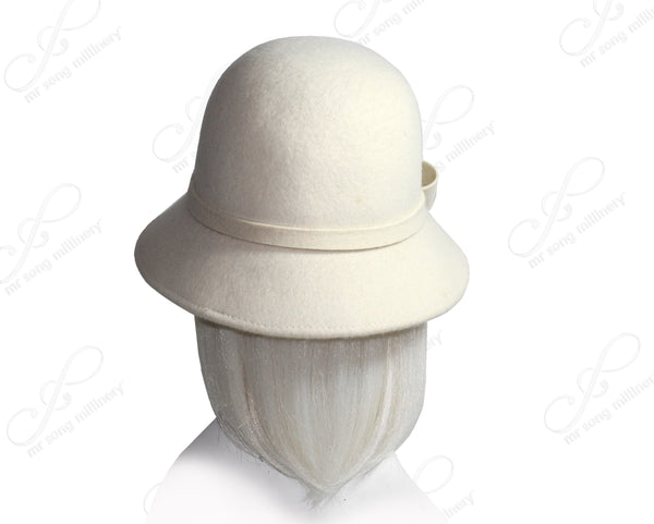 Mr. Song Millinery Soft-As-Cashmere Felt Bucket Cloche Hat - White
