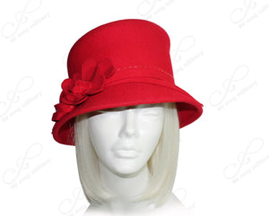 Mr. Song Millinery Softest Felt Bucket Style Hat - Red