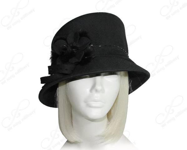 Mr. Song Millinery Softest Felt Slant Crown Hat - Black