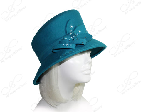 Mr. Song Millinery Softest Felt Slant Crown Hat - Turquoise Blue