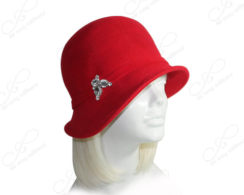 Mr. Song Millinery Felt Cloche Hat Bias Brim With Simple Accent - Red
