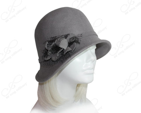 Felt Cloche Hat Bias Brim With Veil & Flora Accent - Gray